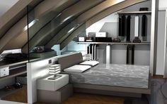 Mansarda moderna: una camera da letto che unisce design e funzionalità @Sermobil #design #bedroom #space