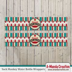 Adorable Sock Monkey Party Printables from #AmandaCreation Throw and amazingly cute sock monkey party and use this fun printable water bottle wrappers to make all of the details of your party coordinate!