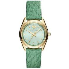 Emporio Armani Round Saffiano Leather Strap Watch, 26mm