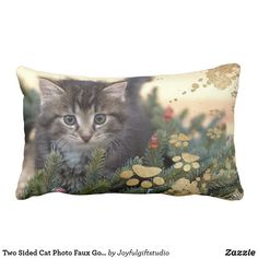 Two Sided Cat Photo Faux Gold Paw Print Christmas Lumbar Pillow