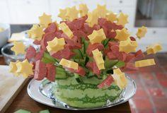Kaas worst bloemen op meloen-berg, hapjes kunst