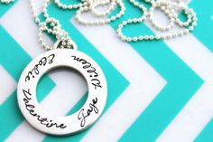 Personalised Hand Stamped Sterling silver circle by MrsFickle Name Necklace, Washer Necklace, Material World, Hand Stamped Jewelry, Personalized Jewelry, Silver Jewelry, Sterling Silver, Pendant, Day