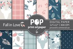 Fall in Love Floral Digital Paper by POP print on paper on Creative Market