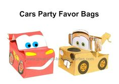 Disney Cars Party Favors - Make these cool Lightning McQueen and Tow Mater party favors from plain party favor bags.  They're just the right size and easy to make.  Print out the Free character template and follow the step-by-step instructions (with pictures).  You can even have the birthday child participate by folding and glueing the cutouts.  These party favors are fun and definitely unique!
