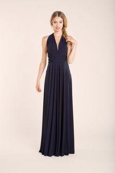 Bridesmaid dress, infinity navy blue dress, ready to ship infinity navy blue bridesmaid dress, party convertible gown, midnight