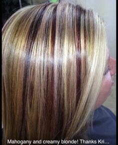 Mahogany and creamy blonde highlights, haircolor, gorgeous color! Mahogany Highlights, Blonde Highlights, Blonde Haircuts, Bob Haircuts, Creamy Blonde, Gorgeous Hair Color, Bombshell Beauty, Toe Nail Art, Love Hair