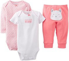 "Carter's Baby Girls' 3 Piece ""Take me Away"" Set (Baby) - Love my Mommy - Coral - 18 Months Carter's"