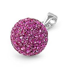 10MM Pendant 925 sterling silver Crystal stones Pave Disco Ball Rhinestone Crystal Beads Rose Pink