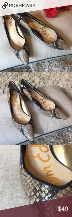 Sam Edelman Snake Heel ✨ + Snake print with navy blue suede trim  !!  + Gold heel detail with engraved S.E  + Don't forget to bundle  ⭐️All items are steamed cleaned and shipped within 48 hours of your purchase. ⭐️If you would like any additional photos or have any questions please let me know.  ⭐️Sorry, no trades. But will listen to ALL fair offers. Thanks for shopping! Shoes Heels