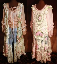 These are actually kind of hideous as dresses, but I'm thinking scarves or something from old doilies would be bitchin'