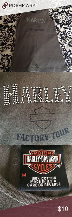 "Tank top Harley Davidson tank top.  Size Medium.  ""Harley"" in silver sequins.  Olive green.  Purchased at the HD factory in Kansas City.  Washed in cold water only, never machine dried.  Super soft.  No stains, rips, or visible signs of wear.  Really cute tank. Harley-Davidson Tops Tank Tops"