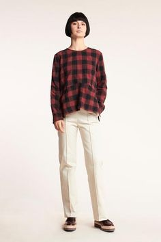 Lure Check Top Red with Black Check Japanese Cotton, Classic Chic, Side Split, Wool Blend, Long Sleeve Tops, Normcore, It Is Finished, Panelling, Fabric