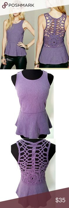Free People Affairs in Versailles Stunning crochet back peplum top in lilac. Absolutely gorgeous. One minor flaw in the back shoulder (see last pic) easily fixed. Free People Tops Blouses