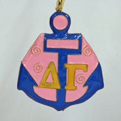 Delta Gamma Anchor Mascot Cloisonne Ornament by KittyKellerDesigns