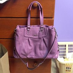 COACH Ashley Leather Carryall Bag COACH Ashley Leather Carryall Bag. Color is called Wisteria. Beautiful condition! Only used a handful of times. Coach Bags Satchels