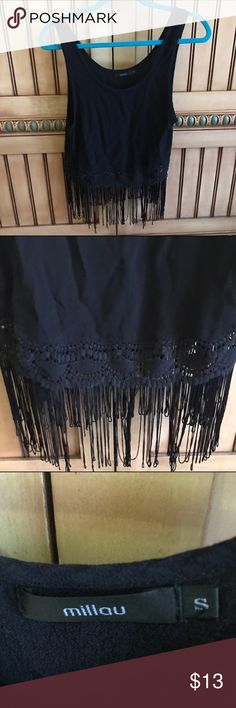 LF black trim fringe tank •Very cute tank top with trim pattern on bottom and fringe  •Fringe is uneven LF Tops Tank Tops