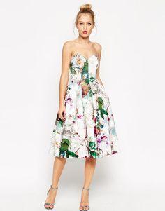 ASOS | ASOS Pretty Floral Rose Bandeau Midi Prom Dress at ASOS