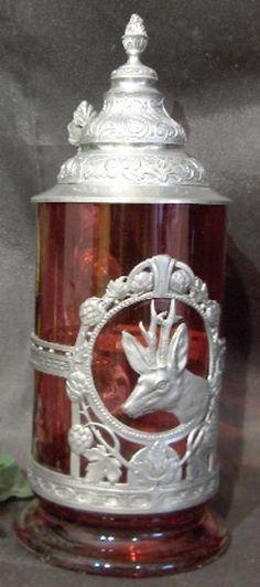 T-H rotes Glas Krug Humpen mit Zinn um 1900 - Hirsch -  2