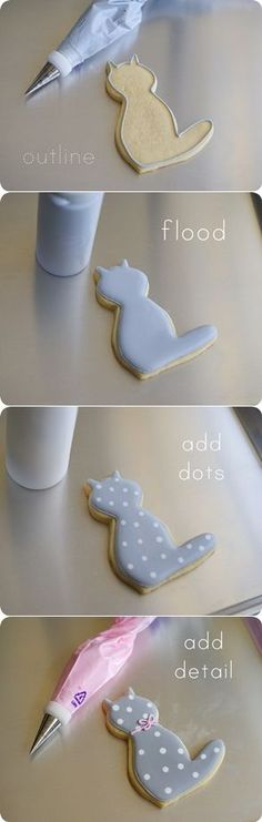 Hello (polka dot) Kitty Cookies Tutorial. The cutest How-to Cake tutorial I have seen all day