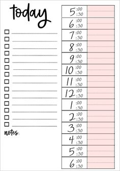 Printable Daily To Do List – Organisation – Bullet Journal To Do Lists Printable, Weekly Planner Printable, Planner Template, Monthly Planner, Free Printables, Planner Inserts, Schedule Templates, Daily Schedule Printable, Agenda Planner