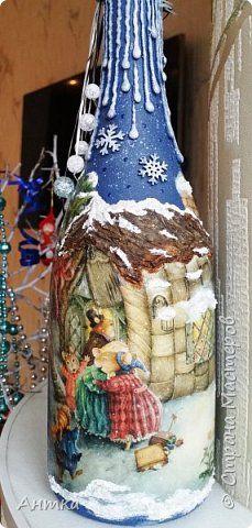 Здравствуйте дорогие мастера и мастерицы! С наступающим Новым годом и Рождеством! Очень давно меня не было и я очень соскучилась по Вам! Вот выдалось немного свободного времени и задекорировала бутылочки в подарок. фото 2