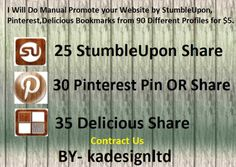 I am going to Perform Guide Market your site through StumbleUpon, Pinterest, Delicious Book marks through ninety Various User profile for $5.We publish your own hyperlink on the top social bookmark submitting websites. Social bookmark submitting websites is considered the most well-known on the planet.