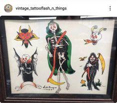 Bert Grimm, Vintage Tattoo Design, Traditional Tattoo Flash, Vintage Flash, American Tattoos, Old Tattoos, Tattoo Flash Art, Drawing Practice, Skull Art