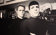 "pretty-pics: ""star trek kelvin timeline on set "" Star Trek Cast, Star Trek 2009, Star Trek Beyond, Pretty Pictures, Pretty Pics, Zachary Quinto, Starship Enterprise, The Final Frontier, Across The Universe"