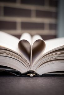 Wedding Engagement Session at the library- their favorite date place!  Closeup ring shot idea with a lovely heart-paged book.  by Awakened Light Photography, Michigan wedding photographer