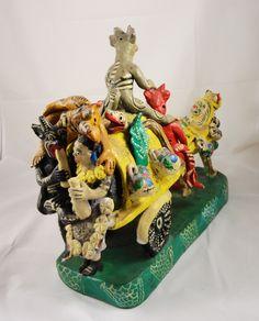 Diablitos Devil Wagon - Clay Folk Art of Ocumicho, Mexico