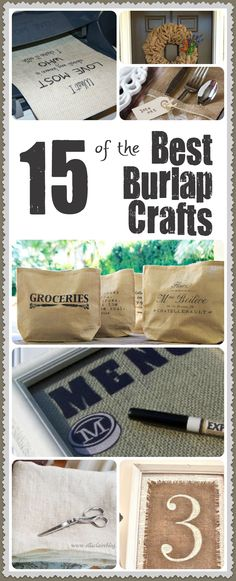 Burlap is beautiful and elegant! Check out these 15 DIY burlap craft ideas for your home or make them for a great gift idea! Diy Burlap Bags, Burlap Crafts, Burlap Sacks, Burlap Projects, Craft Projects, Project Ideas, Craft Ideas, Decor Ideas, Diy Ideas