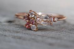 14 k Morganit Cluster Ring rosa Ring rosa Saphir von LieselLove