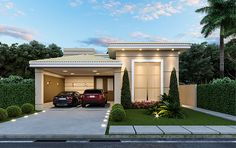 Model House Plan, House Plans, Style At Home, Bungalow Haus Design, Narrow House Designs, Simple House Design, Home Decor Inspiration, My House, Beautiful Homes