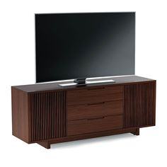 BDI Vertica 8558 Chocolate Stained Walnut Tall Media Credenza provides versatile storage for home theater systems of all sizes.