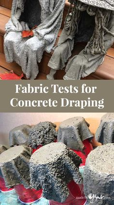 Fabric Tests for Concrete Draping - Made By Barb - cement dipped fibres Concrete draping tutorial. Tests of 8 kinds of different fabrics & fibres for portland cement dipping to make draped concrete pots or characters. Diy Concrete Planters, Concrete Cement, Concrete Garden, Cement Art, Concrete Furniture, Urban Furniture, Cement Bench, Concrete Light, Concrete Leaves