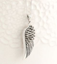 Angel Wing Pendant Necklace in Sterling Silver - woot & hammy