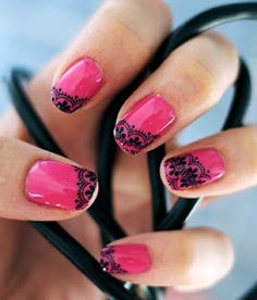 Hot Pink & Black Lace - nail stamping