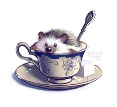 Teatime hedgehod Animal animalart Hedgehog Art, Cute Hedgehog, Animal Sketches, Animal Drawings, Pretty Art, Cute Art, Cute Comics, Weird Art, Cute Illustration