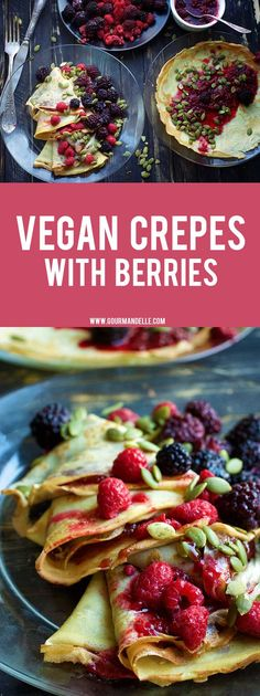 These vegan crepes are the easiest crepes recipe you can try! Only 4 ingredients for the basic vegan crepes recipe and you can serve them with your favorite toppings! Vegan Foods, Vegan Dishes, Vegan Desserts, Vegan Vegetarian, Vegetarian Recipes, Cooking Recipes, Gourmet Foods, Plated Desserts, Breakfast Recipes