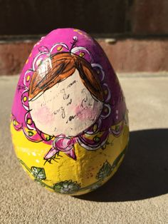 Yellow and Magenta Colorful Russian Egg Doll Paper Mache Matryoshka Collectible by GlimmerbugArt on Etsy