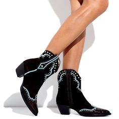 VANELI Suede and Embossed Patent Leather Studded Western Boot