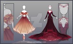 DeviantArt: More Collections Like [Close] Design by Lonary Dress Drawing, Drawing Clothes, Fashion Design Drawings, Fashion Sketches, Anime Dress, Dress Sketches, Fantasy Dress, Anime Outfits, Character Outfits