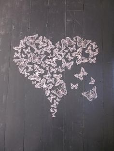 3D paper butterfly wall art in soft pink a big set of 55 pieces --- Perfect to make a heart shape... by ana paula di domenico