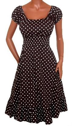 Amazon.com: FUNFASH BLACK WHITE POLKA DOTS ROCKABILLY PEASANT DRESS Plus Size Made in USA: Clothing