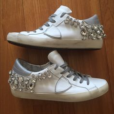 63c6b39a8bdc Philippe Model sneakers Philippe Model crystal embellished sneakers barely  worn