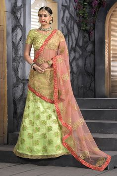 Lime Green Net & Art Silk Fabric Lehenga Choli