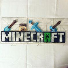 Minecraft logo perler beads by Jake Tastic Perler Bead Designs, Perler Bead Templates, Pearler Bead Patterns, Perler Bead Art, Perler Patterns, Hama Beads Minecraft, Minecraft Logo, Nerd Crafts, Peler Beads