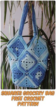Squares Grocery Bag Free Crochet Pattern