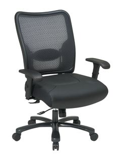 Space Seating® Big & Tall Double AirGrid® Back and Layered Leather Seat Ergonomic Chair