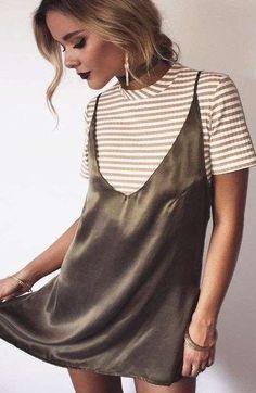 Silk dress + striped shirt